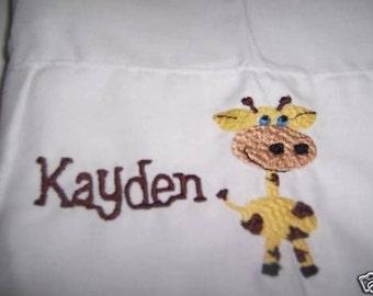 Boutique~Personalized~Mongrammed Giraffe Pillowcase