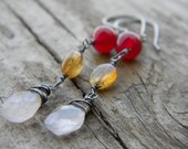 rose and raspberry quartz earrings with yellow aquamarine - rustic dangle, oxidized silver