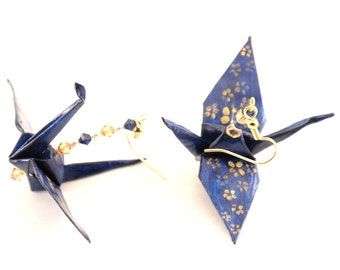Cherry Blossoms on Midnight Blue Origami Crane Earrings, Monaco Blue jewelry