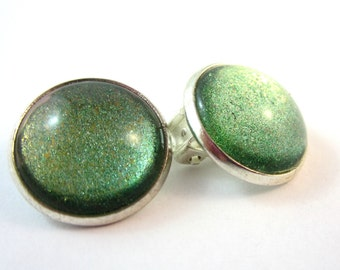Green Clip On Earrings, Silver Setting, 18mm, Stocking Stuffer, Under 20,
