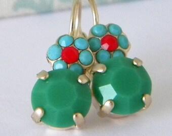 Apple Green Turquoise Ruby Red Swarovski Crystal Flower Gold Leverback Earrings