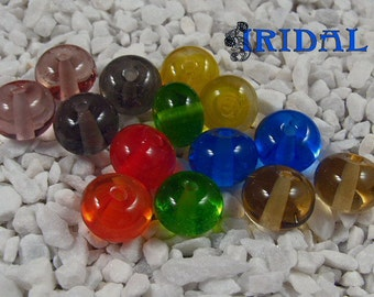 Rainbow glass beads handmade lampwork round beads
