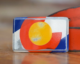 Colorado State Flag Belt Buckle by Fosterweld