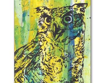 Owl Panel Painting on Wood