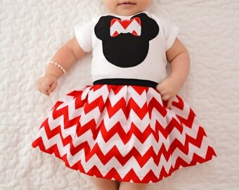 Boutique DRESS.. Red chevron in our Sweet mouse design ...