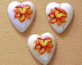8 pcs. vintage heart flower print cabochons 12x10mm - f1467
