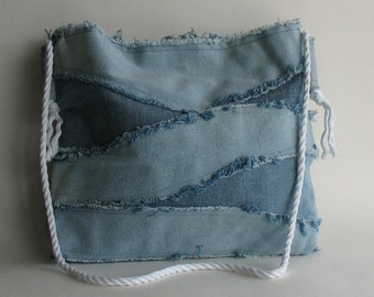 Recycled denim bag - reclaimed blue jean shoulder tote bag for teenagers , vegan denim shoulder bag , upcycled clothing , eco friendly bag