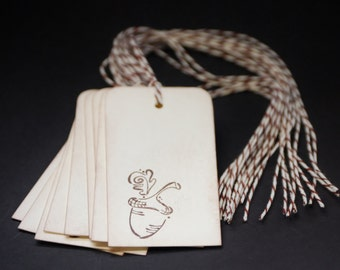 Whimsical Acorn, hand stamped gift tags, set of 10