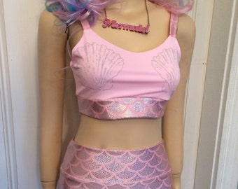 Pink Mermaid Two Piece Swimsuit MADE TO ORDER