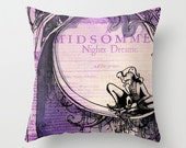 Midsummer Nights Dream Pillow - Shakespeare Throw Pillow - Indoor Cushion - Cover or Stuffed Pillow