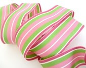 Grosgrain Ribbon Striped Pink Lime Green Renaissance Ribbons 1.5 inches wide - 2 yds listing