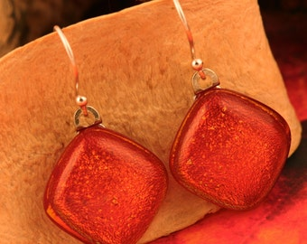 Sterling Silver Fused Glass Earrings No. 1439
