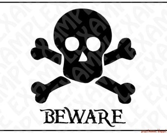 PDF: Skull and Crossbones Pirate Party Sign - Silhouette - DIY - Digital File - Instant Download