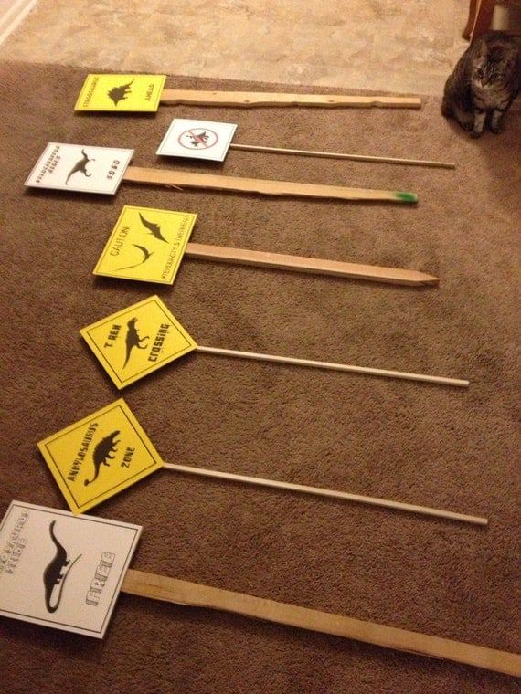 Etsy Caveman Signs : Pdf complete set of dinosaur crossing signs