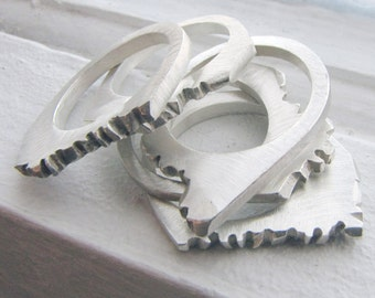 Range Rings in Sterling Silver - Handmade Stacking Rings in Mountain Range Motif