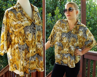 SAFARI 1980's 90's Vintage African Safari Shirt with ZEBRAS // by Caribou // size Large
