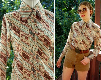 IRISES 1970's Vintage Cream Mint + Brown Striped Floral Polyester Blouse with Pointed Collar // by Partners // size Small Med