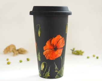 HandPainted Black Travel Mug - Poppy | Botanical Collection