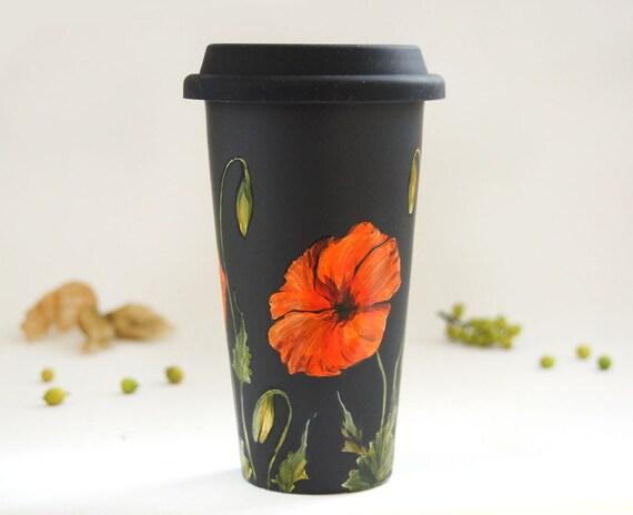 Ready to Ship - Painted Black Travel Mug - Poppy - Botanical Collection