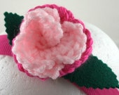 Crocheted Rose Headband - Light Pink and Hot Pink Rose on Hot Pink Stretchy Headband (SWG-HH-MPPP01)