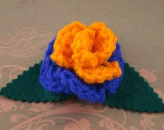 Crocheted Rose Hair Clip - Villain (SWG-HC-VIJK01)