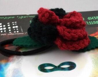 Crocheted Rose Ponytail Holder or Bracelet - Dark Red and Black (SWG-HP-VIHQ01)