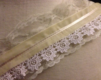 Lace On Lace with Velvet Trim 1 Yard
