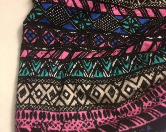Stretch Jersey Knit Fabric Abstract Tribal  Pattern Remnant