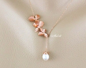 Rose Gold Orchid Necklace, Pink Orchid and Pearl Necklace, Bridesmaids Gifts, Pearl Rose Gold Necklace, Lariat Wire Wrap Pearl Jewelry