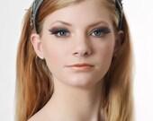 Leather Headband with Barbed Wire Grey Headband