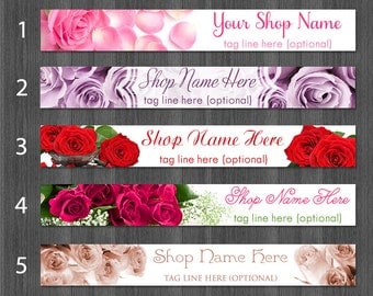 Premade Rose Etsy Cover Photo Banner Red Pink Petals Lavender Fuchsia Sepia