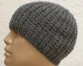 Grey beanie hat, ribbed beanie, reversible hat, skull cap, chemo cap, biker cap, men's hat, winter hat, knit hat, toque, ski snowboard hat