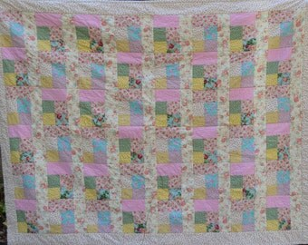 Cottage Chic style twin sized quilt OOAK
