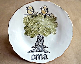 OMA  Family Tree with 2 Birdies Ceramic  Trinket Bowl Personalized