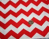 Chevron - David Textiles Fabric - One yard - Cherry Red on White