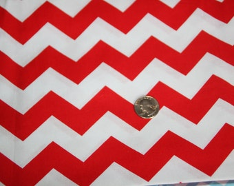 Chevron - David Textiles Fabric - One yard - Cherry Red on White
