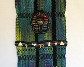 "Hand Dyed Handwoven Silk Tapestry ""Tut Uncommon"" with Needle Felted Applique and Metal Charms"