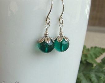 Sterling Silver Earrings Emerald Green Swarovski Crystals On Sale