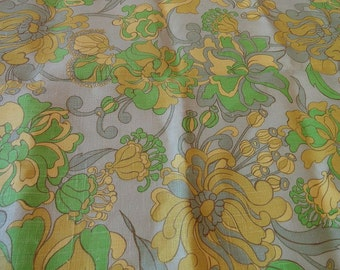 Vintage 60s Lime Floral Linen Canvas Heavy Fabric