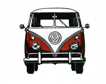 Split Window Volkswagen bus / van - Custom letterpress linocut