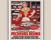Kitchen art poster, fishwife, seashells, crustacean, lobster, Vintage French affiche,  beach cottage decor, fish restaurant decoration 11x14
