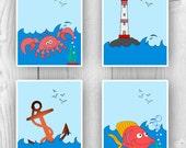 Nursery art, Nautical prints 4 kids, lighthouse, anchor, crab, fish, fantasy nursery decoration, beach cottage decor, ocean nursery print,