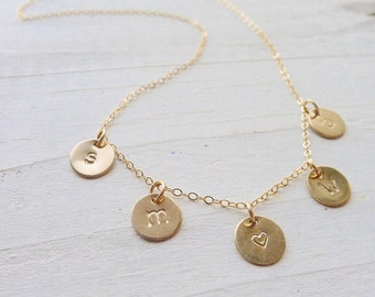 Understated Initial Necklace in Gold Personalized Charms Small Initial Gold Monogram Coins Medallions