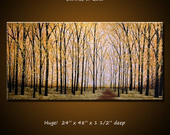 Painting Art Large Landscape Golden Trees Original Modern Yellow Brown and Black ...24 x 48 ... Sunrise of Gold