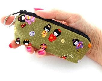 Mini Key Chain Zipper Pouch ECO Friendly Padded Lip Balm Case Kimono Girls Japanese Import