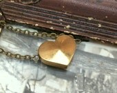 Solid Brass Heart Bead Necklace