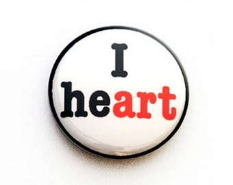 I Heart Art One Inch Pinback Button, Magnet, or Keychain
