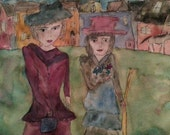 """Original painting on paper, """"Shopping Day"""", acrylic/watercolor on archival art paper"""