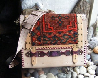 Carpet bag  satchel with antique Ersari rug
