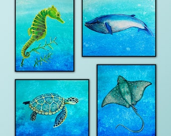 "Set of Four 8""x10"" Art prints from my original acrylic paintings. Ocean/Sea Animals. Wall Art. Nursery Art. Seahorse,Whale,Sea turtle,Ray"